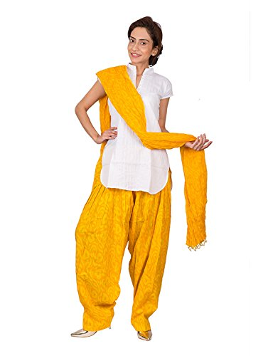 Womens Cottage Women's Yellow Leaf Printed Cotton Semi Patiala Salwar...