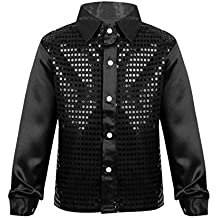 iEFiEL Kids Boys' Long Sleeves Shiny Sequined Stage Performance Shirt Jazz Dance Wedding Top Suit