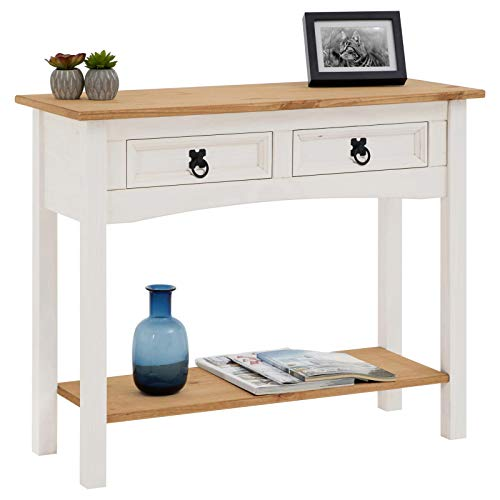 IDIMEX Console Campo Table d'appoint en Bois Style Mexicain avec 2 tiroirs, en pin Massif lasuré Blanc et Brun