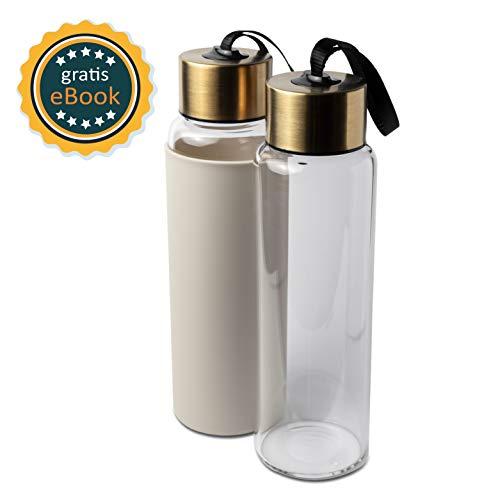 Basil | Premium Wasserflasche & Trinkflasche aus hochwertigem borosilikat Glas | 650ml | auslaufsicher, BPA frei & spülmaschinengeeignet | Sportflasche & Glasflasche mit Silikonsleeve
