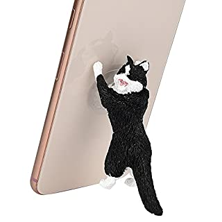 Cell Phone Holder, ADESHOP Phone Ring Holder Stand Cute Cartoon Cat Phone Sucker Bracket Phone Stand and Grip socket pop for All Smartphone and Tablets (Black)