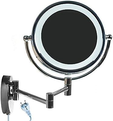 HIMRY® LED Cosmética Espejo 8,5 pulgadas 10x aumentos, de aumento con luz y brazo articulado para pared, enchufe español, con o sin perforación, Espejo 360 ° de rotación, con cara Doble: Estándar + 10x aumentos. KXD-3129-10x