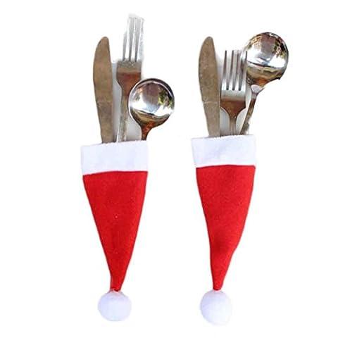 LHWY 1PC Weihnachten Dekorative Rot Geschirr Messer Gabel Set Xmas Heiligabend Abendessen Hat Storage Tool