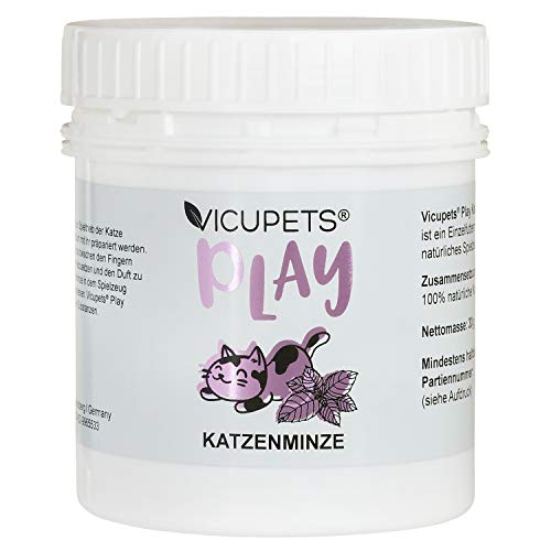 Vicupets® Play Katzenminze für Katzen I Fördert den Spieltrieb I Echte Katzenminze I Katzen Minze Geschnitten und Getrocknet I 30g