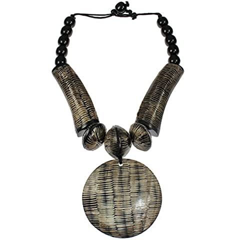 Natural buffalo horn tribal style oversized huge round brown colour pendant bead choker necklace