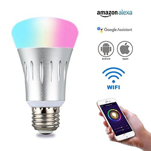 SMART Echo ampoule, WiFi ampoules avec 8W de Puissance, E27Ampoules LED à baïonnette et 16millions de couleurs Dimmable humeur, compatible avec Amazon Echo Dot et Google Home Assistant, télécommande et commande vocale Alexa ampoules pour iOS et Android téléphones, non hub requis