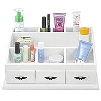 White Wooden Desk Organiser Cosmetics Holder Jewelry display Storage Box Case for Gift