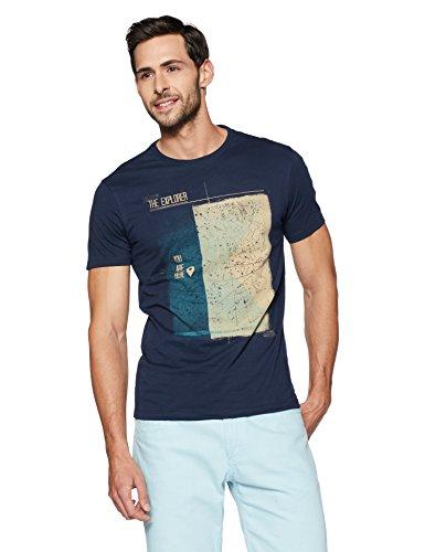 Peter England Men's Solid Slim Fit T-Shirt (JKC318005791_Darkbluewithblue_L)