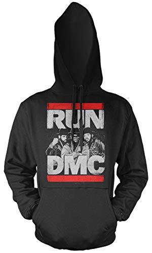 Run DMC Männer und Herren Kapuzenpullover   Logo Musik Hip-Hop   M2 (XXL, Schwarz) (Run Dmc Outfit)