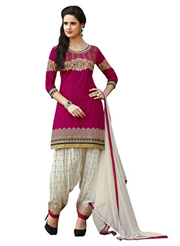 Sheknows Women\'s Cotton Patiala Suit,Pink & White(unstitched dress material)