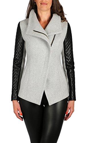 Grimada A20 Damen Wolljacke Blazer Jacket Cootic mit Lederärmel (42, grau)