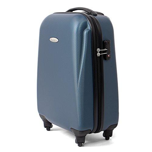 MasterGear Handgepäck Koffer aus ABS mit Reißverschluss in blau (petrol) , 4 Rollen (360 Grad) , Trolley, Reisekoffer, Hartschalenkoffer, TSA Schloss , für zahlreiche Fluggesellschaften geeignet - Voll Gefüttert-gepäck-set