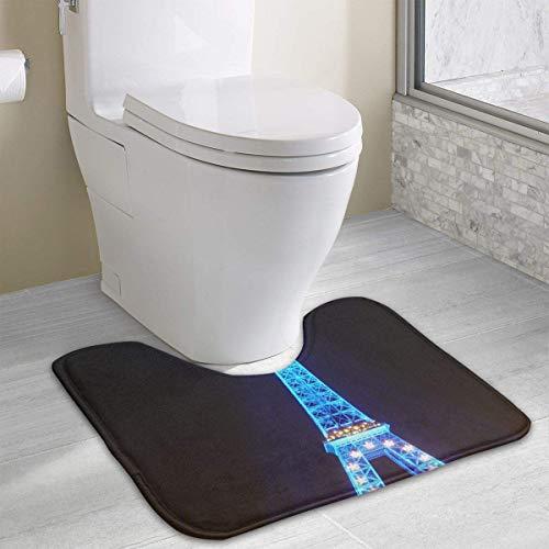 Vidmkeo Blue Lightings France Tower Contour Bath Rug, U-Shaped Polyester Toilet Floor Mat Non Slip Bathroom Shower Carpet