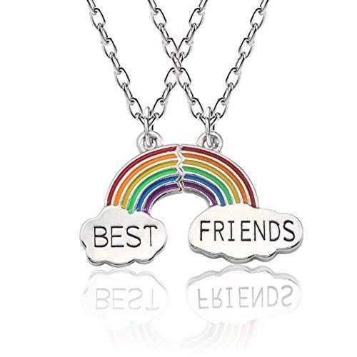 724d29e3f4e8 JMZDAW Collar colgante 2 Pcs Conjunto De Moda Colgante Collar Arcoiris  Stitching Mejores Amigos Style