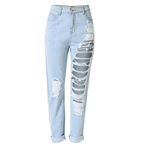 Laixing Gute Qualität Trendy Sexy Women's Holes Ripped Baggy Jeans Denim Pants T-SL022 Dark Blue