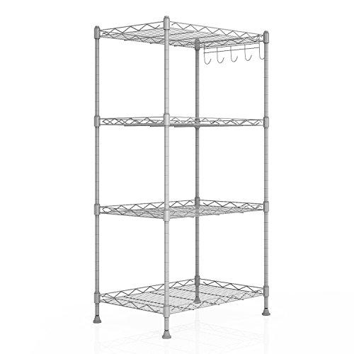 Homdox Küchenregal Küchenwagen Standregal Küchenschrank Regal mit 4 Regalböden verstellbar 44.5 x 29.5 x 90cm(L x W x H) , Silber