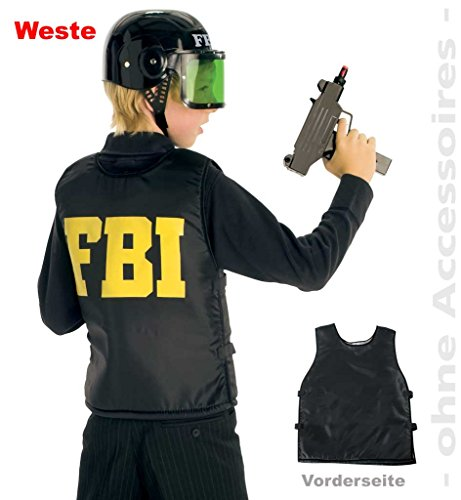 KarnevalsTeufel Kinderkostüm Weste FBI, Schutzweste, Police-Officer, Ploizist, Agent, 1-TLG. Weste (164)