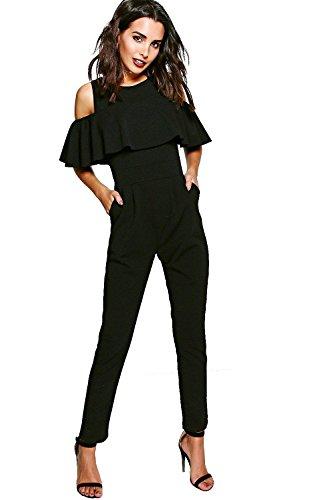 black-womens-viki-ruffle-cold-shoulder-skinny-leg-jumpsuit