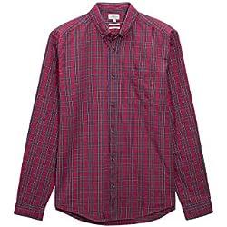 next Hombre Camisa De Algodón A Cuadros Escoceses Manga Larga Puño Simple Cuello Americano Con Botones