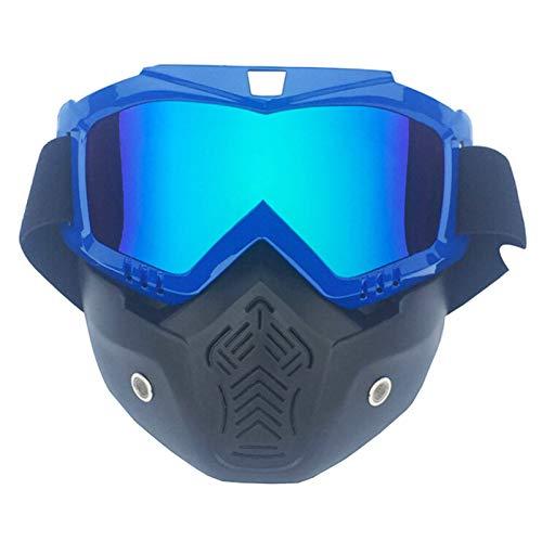 Polarisierte Sportbrille Motorradmaskenbrillenpersönlichkeit Retro Halber Sturzhelmgesichtsschutz Offroad Schutzbrillen Männer Und Frauen Ski Fahren Vertical Blue Muliticolor Damen Herren