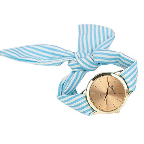 Sonnena Damen Armbanduhren, Mode Frauen Streifen Blumen Stoffband Edelstahl Analoge Quarz Armbanduhr uhren Outdoor Casual Armband Uhrenarmband uhr Wrist watch (Blau)