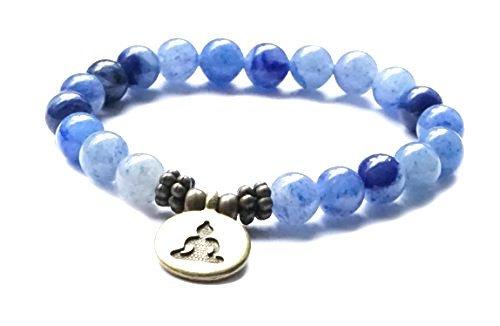 ARMBAND Aventurin blau, mit Buddha Symbol – Heilstein Meditation Yoga Spiritualität Esoterik Astrologie Buddhismus Hinduismus Edelstein