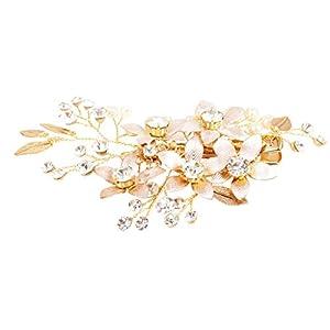 Sharplace Gold Blumen Haarklammer Strass Kunstperle Haarspange Haarschmuck Kopfschmuck Haar Zubehör