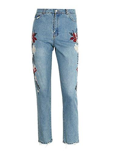 Simplee Apparel Damen Jeans Skinny Elegant Blumen Stickerei Jeans Loose High Waist Denim Hosen Pants Blau Blau