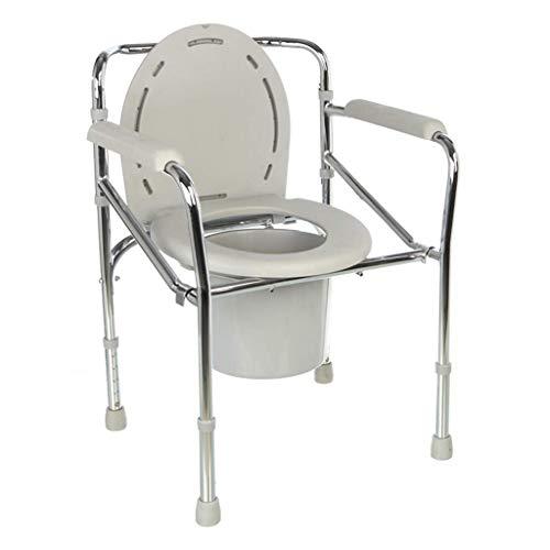 AGGL Toilettenstuhl Mobile Toilettenschüssel Ältere Schwangere Frau Toilettenstuhl Behinderte Faltbare Toilettenschüssel Höhenverstellbar Kommodenstuhl Rutschfeste Armlehne,