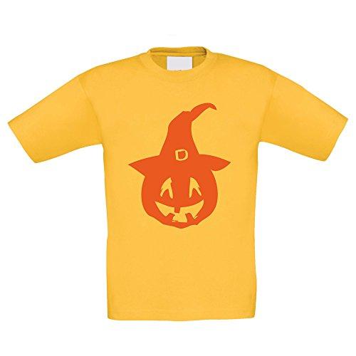 (T-Shirt Kinder Halloween - Kürbis mit Einem Hexenhut, Gelb-Orange, 152-164)