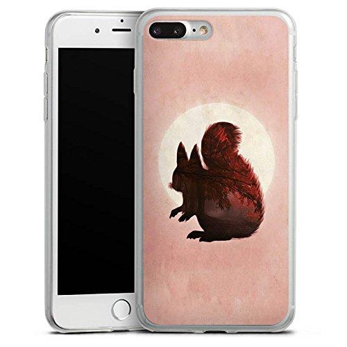 Apple iPhone X Slim Case Silikon Hülle Schutzhülle Eichhörnchen Mond Muster Silikon Slim Case transparent