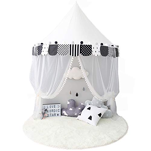 Ciel de Lit Enfant Moustiquaire de Lit Bébé Tente de Jeux Baldaquin Princesse Coton Rideau Berceau Bebe Fille Garçon Cadeaux Noël CO001