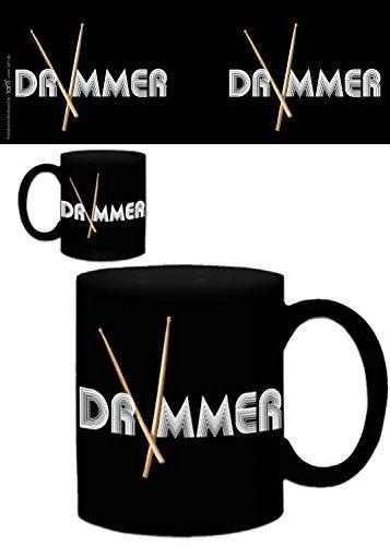 1art1 Set: Musik, Band, Drummer Foto-Tasse Kaffeetasse (9x8 cm) Inklusive 1x Überraschungs-Sticker