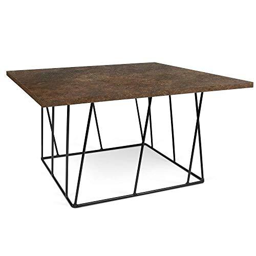 TemaHome Table Basse carrée Helix 75 Plateau Effet Rouille Structure laquée Noire