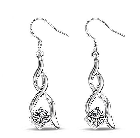 Hosaire Womens Girls Earrings Fashion Cute Crystal Twisted Diamonds Silver Glittering Stud Earrings