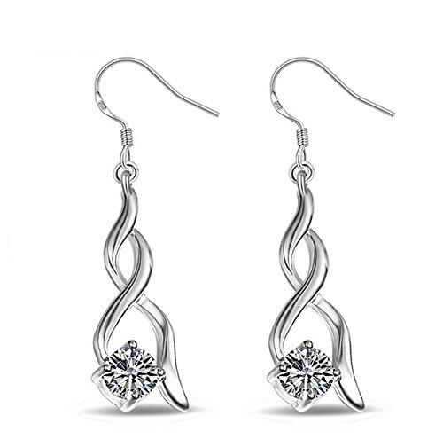 Hosaire Womens Girls Earrings Fashion Cute Crystal Twisted Diamonds Silver Glittering Stud Earrings Gift-2pcs