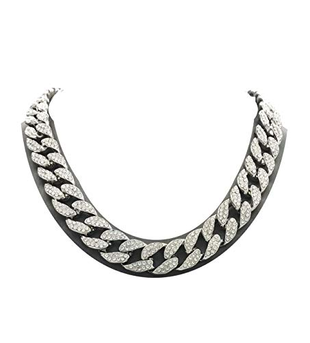 "Shiny Jewelers USA Mens Iced Out Hip Hop Silver Tone CZ Miami Cuban Link Chain Choker Necklace (16"")"