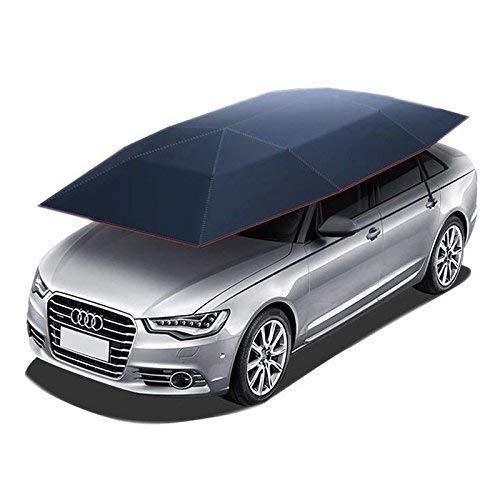 Jolitac Auto Zelt Regenschirm Sonnenschutz Tragbar Draußen Autogarage Wasserdicht 210 x 400 cm (Dunkelblau) (Tragbare Garage Zelt)