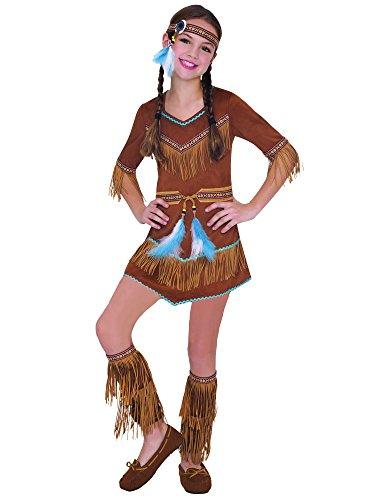shoperama Indianerin Mädchen Kinder-Kostüm Dream Catcher Cutie Kleid Wildlederoptik weich Karneval Verkleidung Fransen Feder Squaw, Größe:110 - 4 bis 6 Jahre