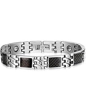 Herren Armband sportlich Carbon Optik Luxus 316L rostfreier Edelstahl 21 cm (kürzbar) silber / schwarz / carbon