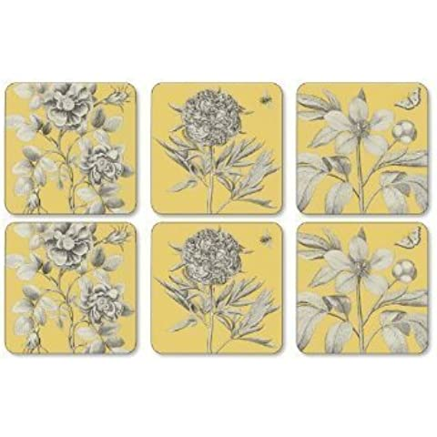 PIMPERNEL Etchings & Roses Yellow Coasters square set of 6 by Pimpernel