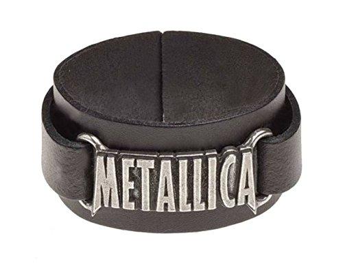 Metallica Armband classic band Logo Nue offiziell Alchemy Schwarz Leather Buckle (Metallica-armband)