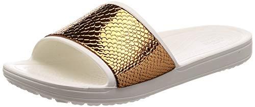 crocs Damen Sloane Metaltext Slide W Dusch-& Badeschuhe, Braun (Bronze/Oyster 81f), 38/39 EU