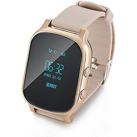 Smartwatch Posición de los niños perdido rastro de reloj elegante tarjeta reloj teléfono móvil niño estudiantes GPS , golden