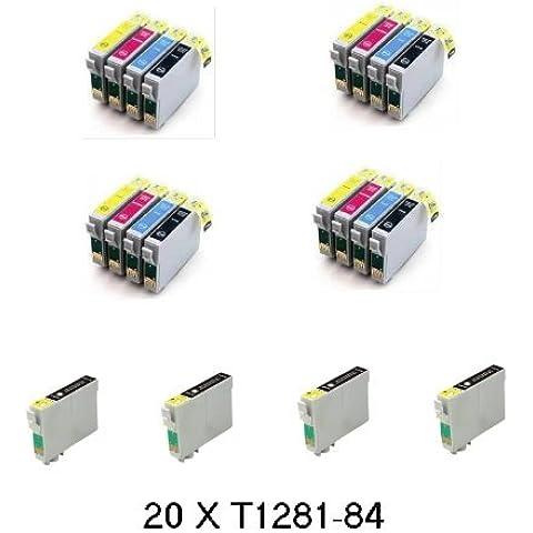Bramacartuchos - 20 X Cartuchos compatibles NON OEM para Epson T1281, T1282, T1283, T1284 BX305F, BX305 F, BX305FW, BX306 FW +, Epson Stylus S22, SX125, SX130, SX235W, SX420W, SX425W, SX435W, SX438, SX440w, SX445W,