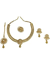 MUCH MORE 18k Gold Plated Necklace Set With Finger Ring Women And Girls Party Wear