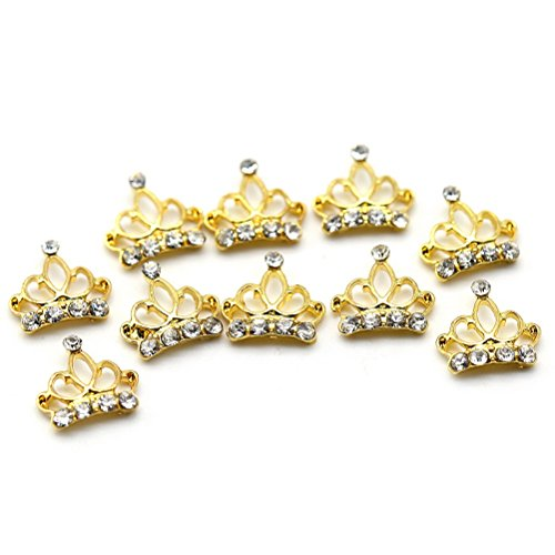 Five Season 10 pcsBling Decoration Bijou Cristal Accessoire Alliage Nail Art Manucure Forme Couronne, 0.9*0.9cm, Or