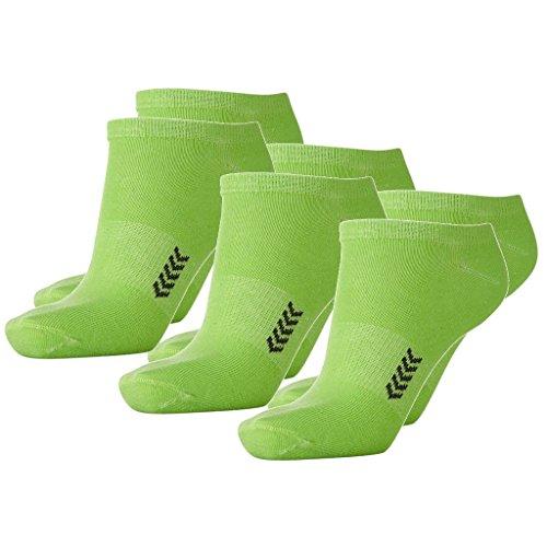 Hummel 6 Paar Sneaker Socken für Damen und Herren - viele Farben - Größen 36-48 (41 - 45 (12), Green Gecko/Black (6597))