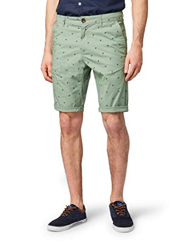 TOM TAILOR für Männer Hosen & Chino Josh Regular Slim Chino-Shorts Green Navy Palm Print, 38 - Stretch Hose Navy