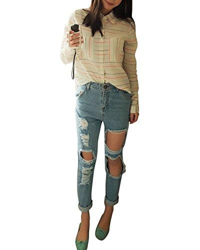 Moollyfox Donne Jeans Strappati Lavato Denim Bianco Blu Pantaloni Moda Casual Boyfriend Cavallo Basso Jeans Come Immagine L